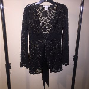 Cabi Black Lace Tie Front Jacket Cardigan Kimono